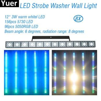 цена на 8Pcs/Lot LED Strobe Washer Wall Light 3IN1 Stroboscope DMX512 DJ Disco Sound Party Flood Lights Stage Strobe Wash Wall Lighting