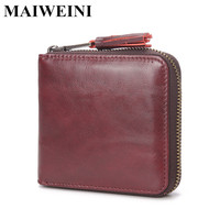 2018 New Genuine Leather Women Small Wallet Vintage Square Coin Purses High Quality Female Credit Card Holder Cow Leather Wallet