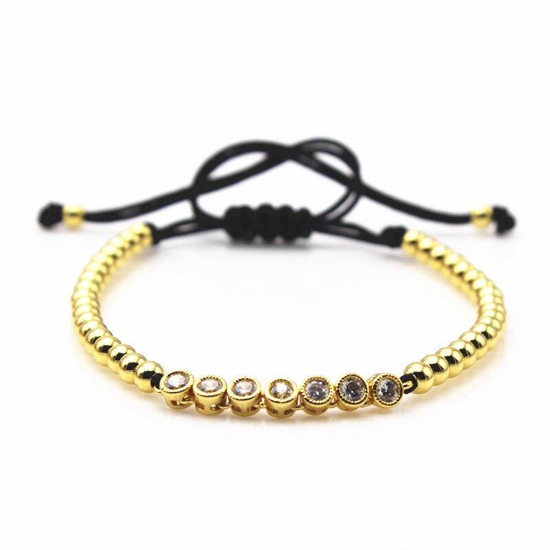 CZ Curved Long Tube Bar Braided Macrame Bracelets,Luxury Rope Chain Lace-up DIY Beads Charm Bracelet