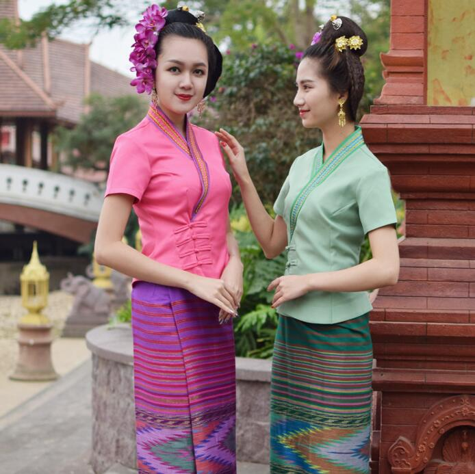 Thailand Dai Traditional Clothing Women Suits Jacket + Skirt Spring Summer Short Sleeve Work Unique Costume Festival Uniform