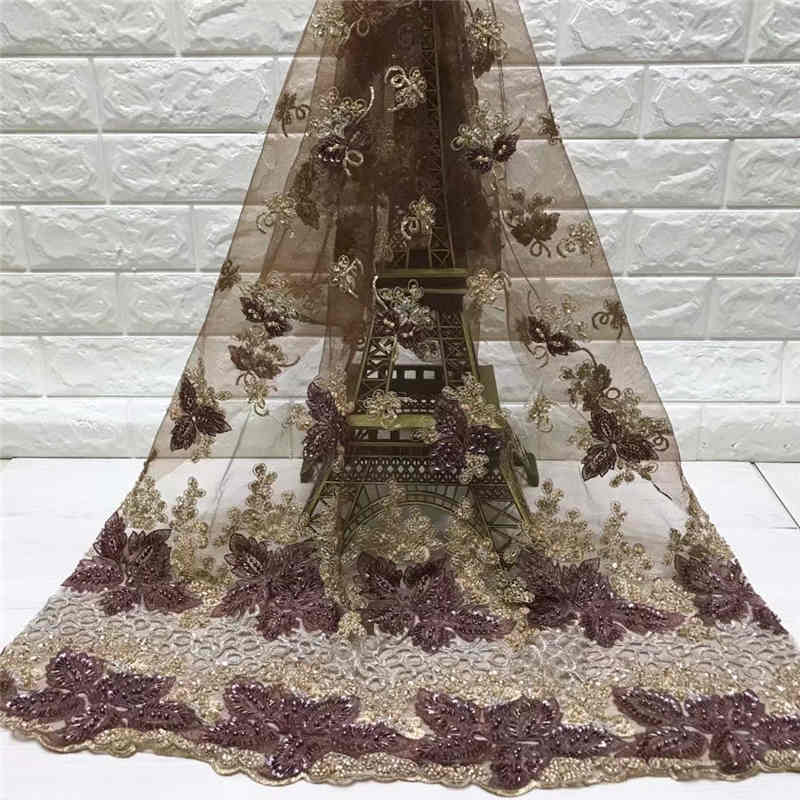 Best Quality Latest heavy Handmade Beads and Feather on netting fabric lace for Wedding or Evening Dresses NX632e 5Yds/Pcs