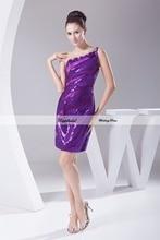 Sequined Satin Sheath One Shoulder Beading Short Mini Length Bridesmaid Dresses Wedding party dresses robe de soiree