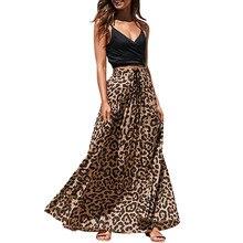 JAYCOSIN Женская длинная Плиссированная юбка с леопардовым принтом на завязках и высокой талией в богемном стиле, модная плиссированная юбка принцессы,, 22 июня