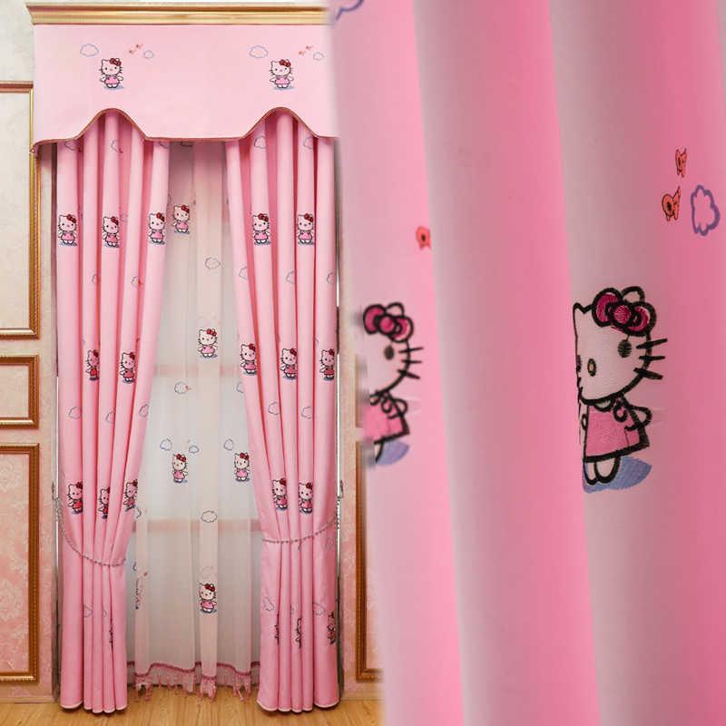 الكرتون فتاة الوردي كيتي القط المطرزة الستائر غرفة نوم خليج نافذة الأطفال الإسكان منتجات مخصصة معالجة شاشات
