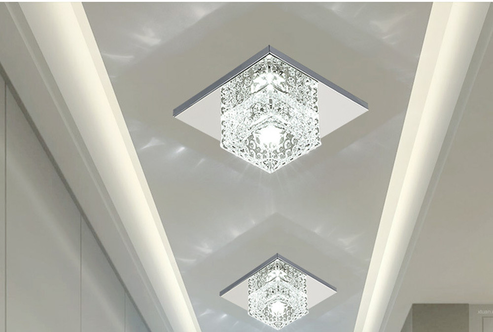 LED Ceiling Lights | Light Surface | Surface Mounted Crystal Aisle Lamp Lustre Modern Ceiling Lamp For Living Room Indoor Bedroom Corridor Entrance Power 3W
