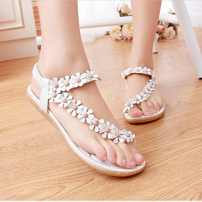 Summer Women Sandals 2016 Fashion Bohemia Women s Shoes Flower Sandalias Femininas Casual Thong Flats Shoes