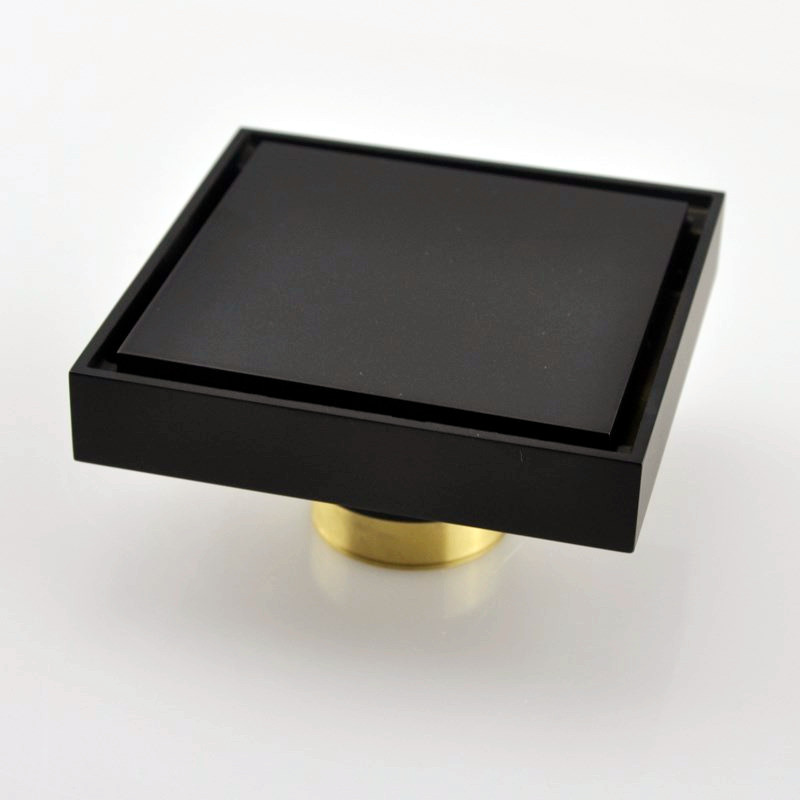 Free shipping black solid brass 100 x 100mm square anti-odor floor drain bathroom invisible shower drain DR265