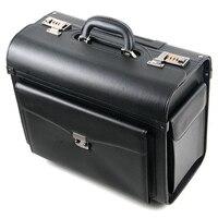Neue Retro PU Leder pilot Roll Gepäck Kabine Airline stewardess Reisetasche auf Rad Koffer Business Trolley Koffer