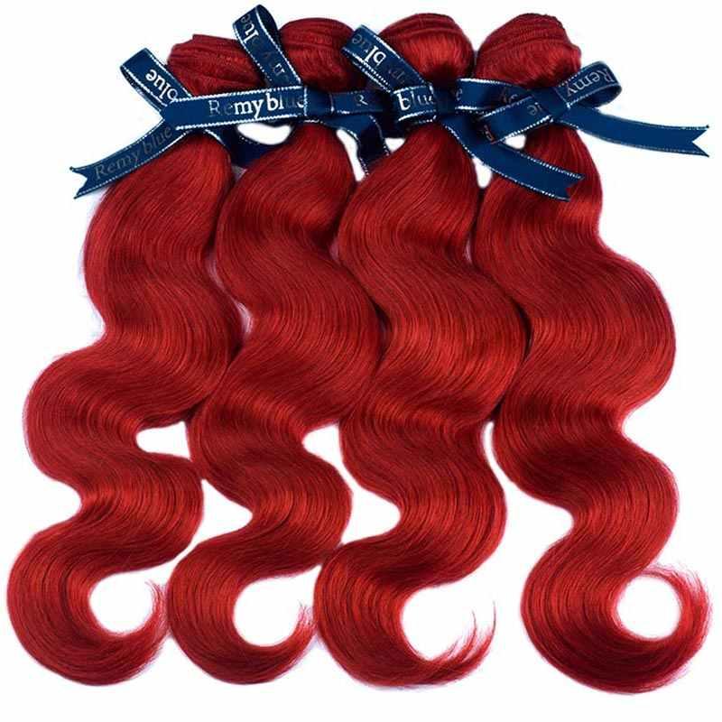 Remyblue красный пучки волос бордовый бразильский средства ухода за кожей волна 4 Связки предложения Remy человеческие волосы Weave Расширения не клубок