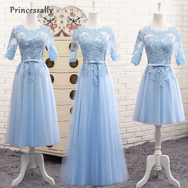 Robe De Soriee Light Blue Bridesmaid Dresses Long Lace Illusion Scoop  Applique Floor-length Elegant Formal Prom Party Bride Gown 095a3aaa9c06