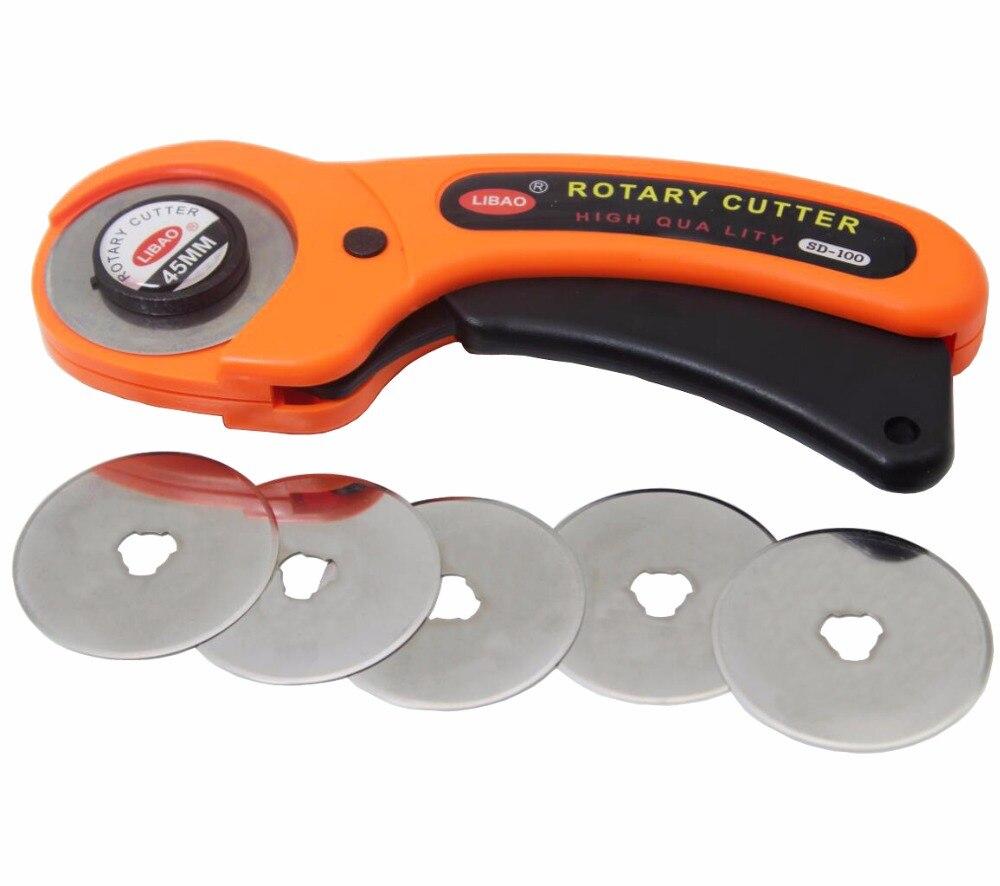 Nuevo juego de cortador rotativo de 45mm unids 5 cuchillas para papel de tela de vinilo corte Circular disco de retazos de cuero artesanal herramienta de costura