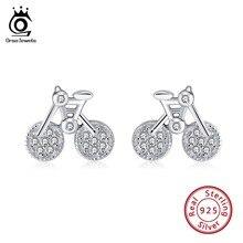 ORSA JEWELS Real 925 Sterling Silver Stud Earrings Women With AAA Zircon Cute Bike Shape Cartoon Style Silver Jewelry OSE115 стоимость