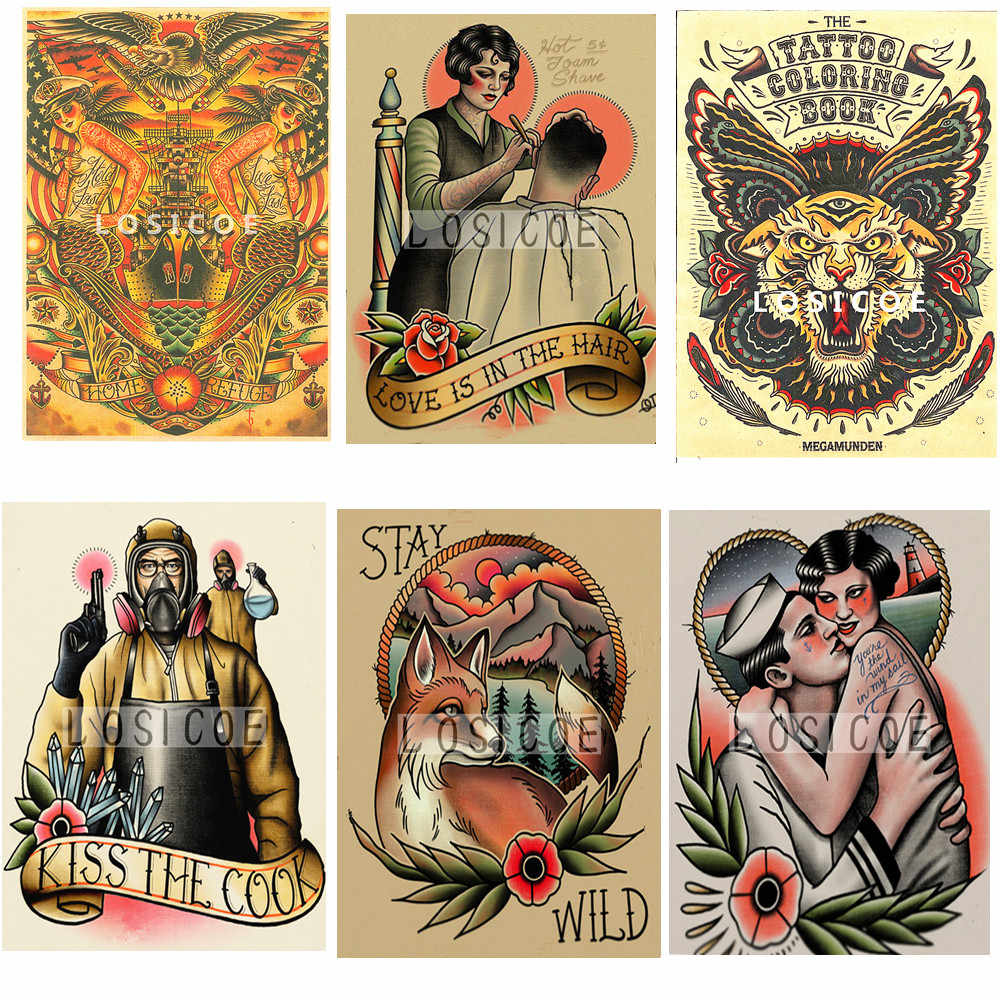 Tattoos Pattern Barber Shop Decoration Vintage Kraft Paper Inkjet Printers Poster Wall Stickers Painting Wallpaper Sticker