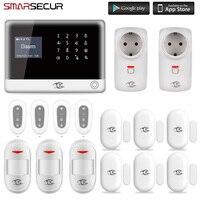 Smarsecur alarme de segurança em casa wi-fi sem fio app controle sistema de alarme de segurança em casa