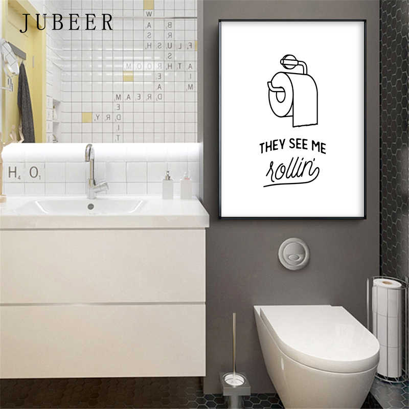 Marvelous Funny Toilet Poster Bathroom Wall Art Decortive Picture Lavatory Canvas Painting Scandinavian Style Black And White The Pictures Home Interior And Landscaping Ponolsignezvosmurscom