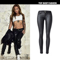 Women fashion PU coating imitation leather black skinny jeans sexy low waist denim pants womens casual elastic plus size jeans