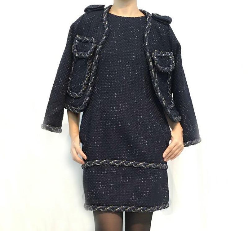 Высокое качество дизайнер Костюмы 2018 осень зима Для женщин шерстяная куртка пальто + шерстяная одежда без рукавов платье комплект 2 шт. курт