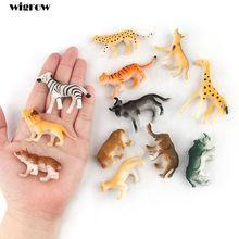 Pequenas Figuras de Animais Selvagens Mini Brinquedo De Plástico para o Miúdo Menino Selvagem Set Modelo Animal Dos Animais Selvagens Da Selva Em Miniatura figura Dos Desenhos Animados Decoração