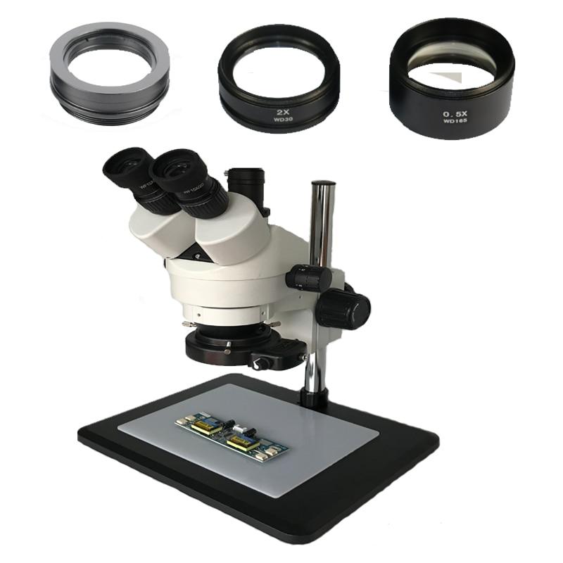 3.5X 7X 45X 90X continu Simul Focal microscope stéréo trinoculaire 144 réglable lampe à LED approvisionnement en lumière pour la réparation de téléphone IC
