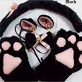 4pcs/1set Cute Anime Cosplay Costume Cat Ears Plush Paw Claw Gloves Tail Bow-tie 1 Set Women Stage props Cat dress up suits