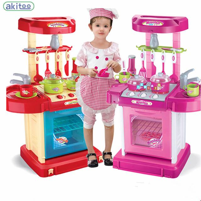 Nueva llegada de super alta simulación cocina maleta temprano educativos niños toys herramienta de cocina ollas de cocina de mesa