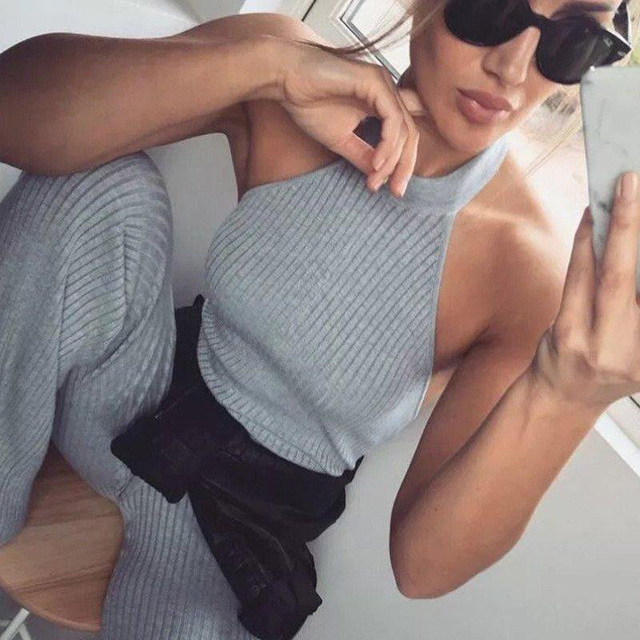 Nowa moda jesień kombinezon Sexy styl Halter kombinezony bez rękawów kobiety Bodycon klubowa noc pajacyki