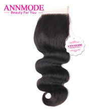 Annmode Lace Closure Brazilian Body Wave Free Part 4*4 Free Shipping Non-remy Human Hair Closure A Piece By Hand
