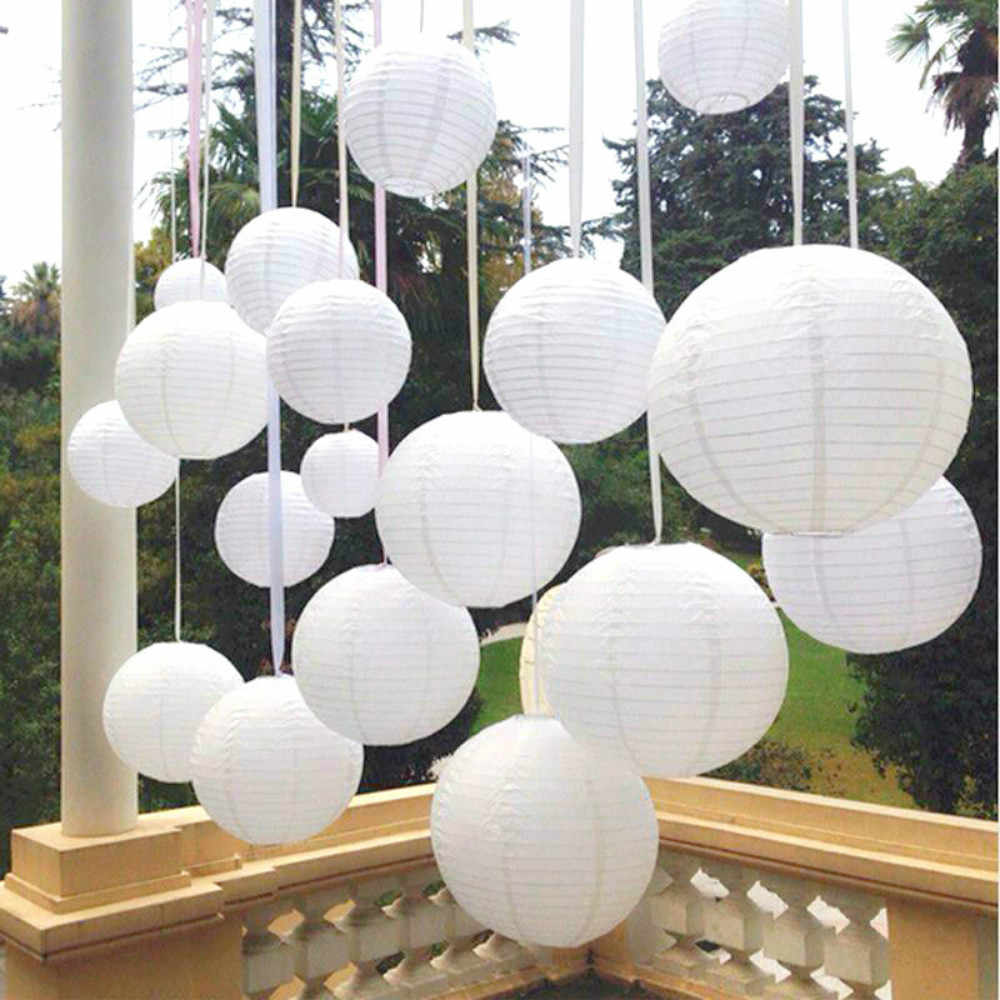 wholesale New 6-8-10-12-14 Inch White Chinese Paper Lanterns For Party and Wedding Decoration White Hanging Paper Ball DIY