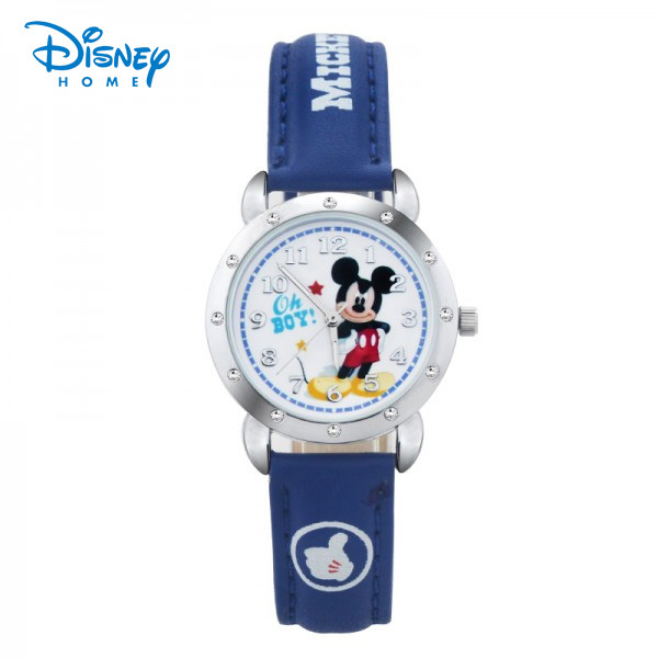 100% Genuine Disney children Mickey Minnie watches with diamond cartoon Casual watch kids Leather Wristwatches relogio 90319-1