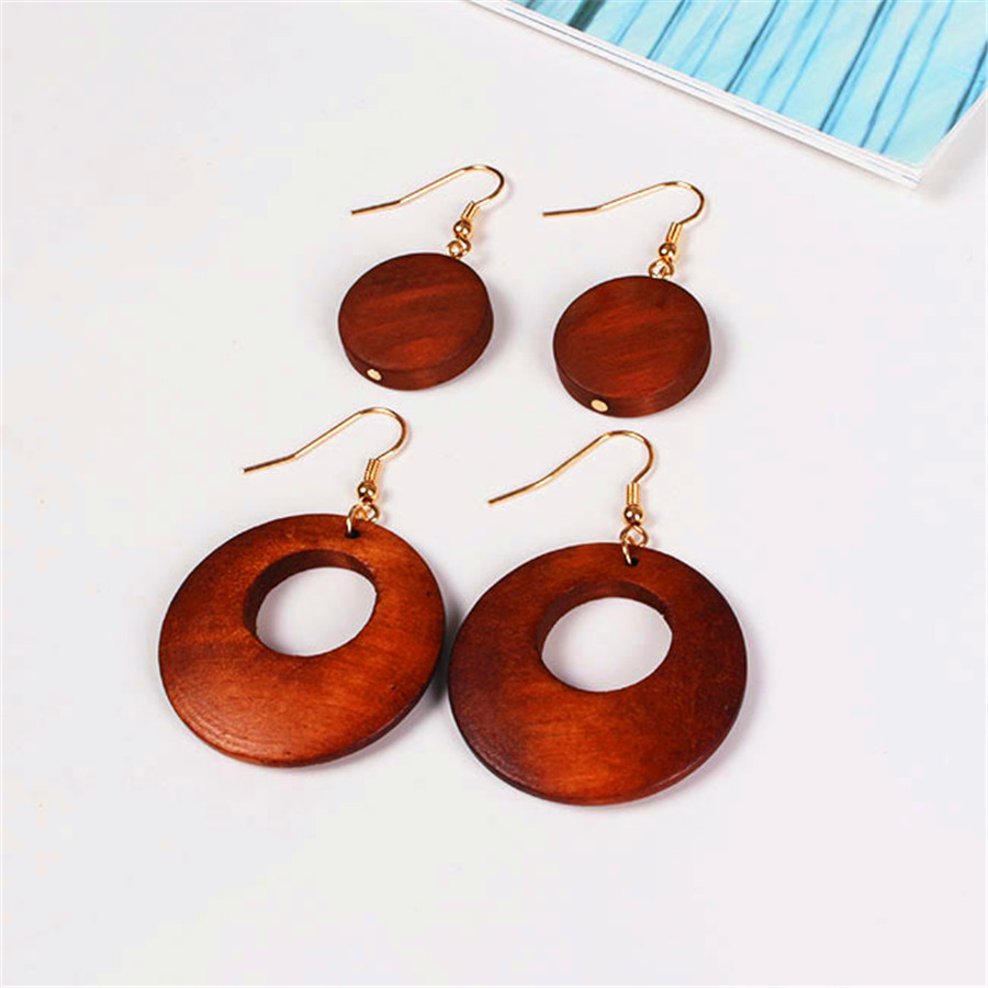 Girls fashion wholesale gift birthday party type circular wooden circle earrings with free shipping