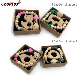 2pc Baby Teether Organic Wooden Animal Teether Natural Teething Grasping Toy Silicone Bead Toddler Teether Newborn DIY Baby Gift(China)
