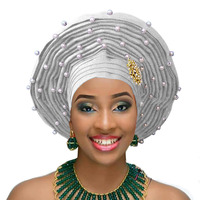 Aso oke gele nigerian woman headtie with white beads african woman auto gele for wedding headwear 2018
