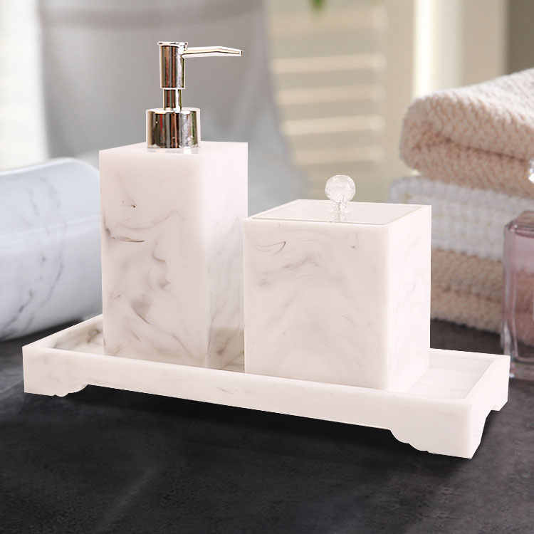 Four-piece Set Nordic Marble Texture Resin Brushing Cup Lotion Bottle Tray Bathroom Supplies Accessories Toothbrush holder