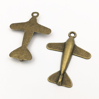 500pcs/lot 24*33mm Metal/Alloy Antique Bronze Airplane Charm Pendant (custom made