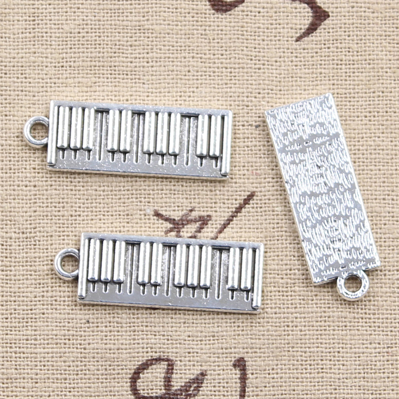 10pcs Charms electronic organ piano 30*10mm Antique Silver Plated Pendants Making DIY Handmade Tibetan Silver Jewelry