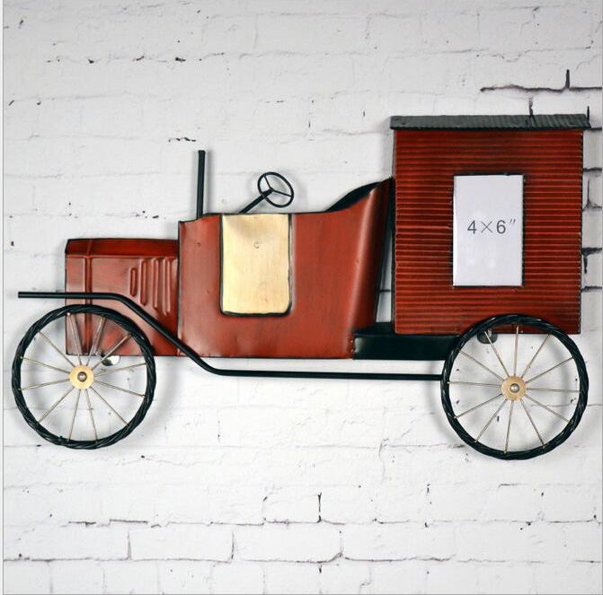Europe style wall art metal craft wrought iron vintage classic car bars restaurants wall decor shabby chic wall decora novelty-in Wind Chimes u0026 Hanging ... & Europe style wall art metal craft wrought iron vintage classic car ...