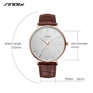 Image 4 - SINOBI New Design Netting Printed Men Watches 316L Steel Leather Waterproof Watch Male Imported Quartz Watch Clock Gifts