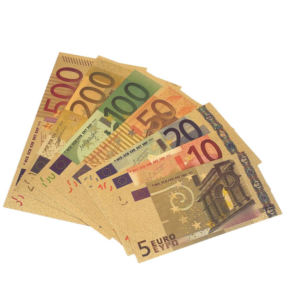 Gold Antique Plated 7PCS Commemorative Notes Banknotes 5 10 20 50 100 200 500 EUR Fake Money Home Decoration Antique Souvenir|Gold Banknotes| |  - title=