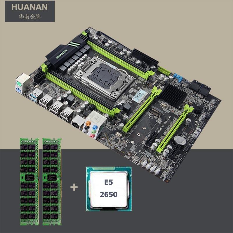 HUANAN ZHI remise X79 carte mère X79 LGA2011 carte mère avec M.2 NVMe slot CPU Intel Xeon E5 2650 2.0 ghz RAM 16g (4*4g) RECC