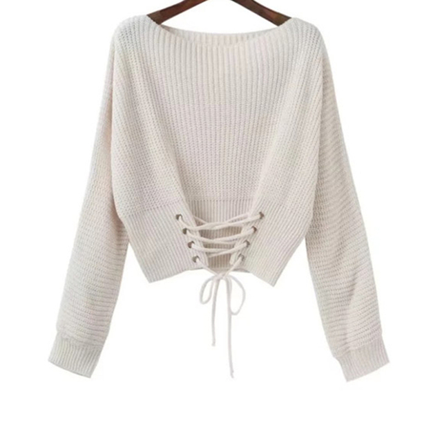 2017 new Women Long Sleeve Loose Knit Sweater fashion sexy off shoulder  bandage solid casual pullover sweater outwear tops d42cae91c