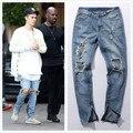 Хип-хоп мода брюки прохладный мужская городская одежда комбинезон мужская молнии разбиты отверстия рок-звезда бог джинсы с некоторые сломанные отверстия