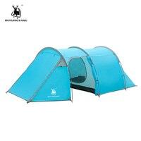 Camping zelt Wasserdicht 3 4 person Doppel Schicht Tunnel zelt Outdoor camping wandern klettern ultraleicht große raum Strand zelte Zelte Sport und Unterhaltung -