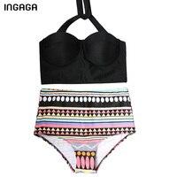 INGAGA 2017 High Waist Bikinis Set Swimwear Women Brand Push Up Swimsuit Lace Up Halter Swimwear
