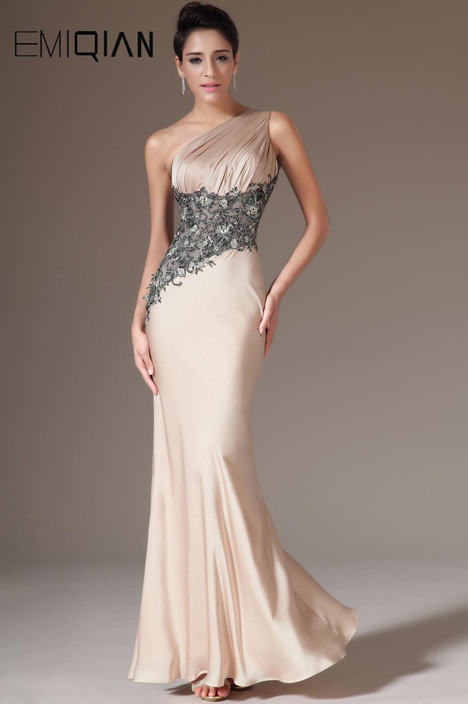 Charming One Shoulder Mermaid Champagne Satin & Black Lace Evening Dresses