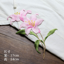 1pc high quality orchid flower embroidery patches Sew on embroidered parches appliques for clothing para la ropa