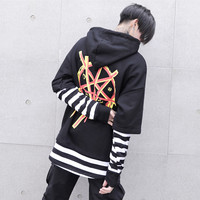 National Tide Hip Hop Tattoo Embroidery Korean Long Sleeve Pine Bf Harajuku Style Lover Men S