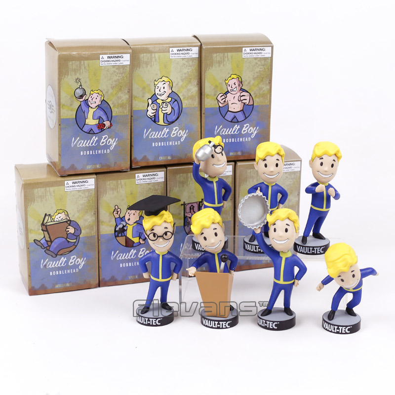 Fallout Vault Boy Bobble Head PVC Action Figure Collectible Model Toy Brinquedos 7 StylesFallout Vault Boy Bobble Head PVC Action Figure Collectible Model Toy Brinquedos 7 Styles