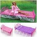 Кукла мебель комплект кровать + лист + подушка 3-Piece комплект для 1/6 куклы кровать девочки Nice день рождения подарки