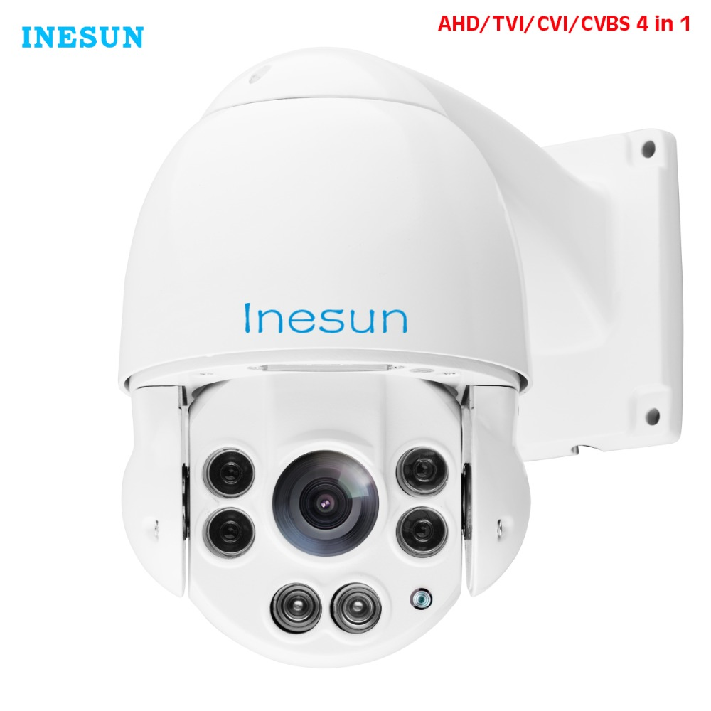 Inesun 2MP 1080p PTZ High Speed Dome Security Camera 4-in-1 HD TVI/AHD/CVI/CVBS 10X Optical Zoom Outdoor 165ft IR Night Vision