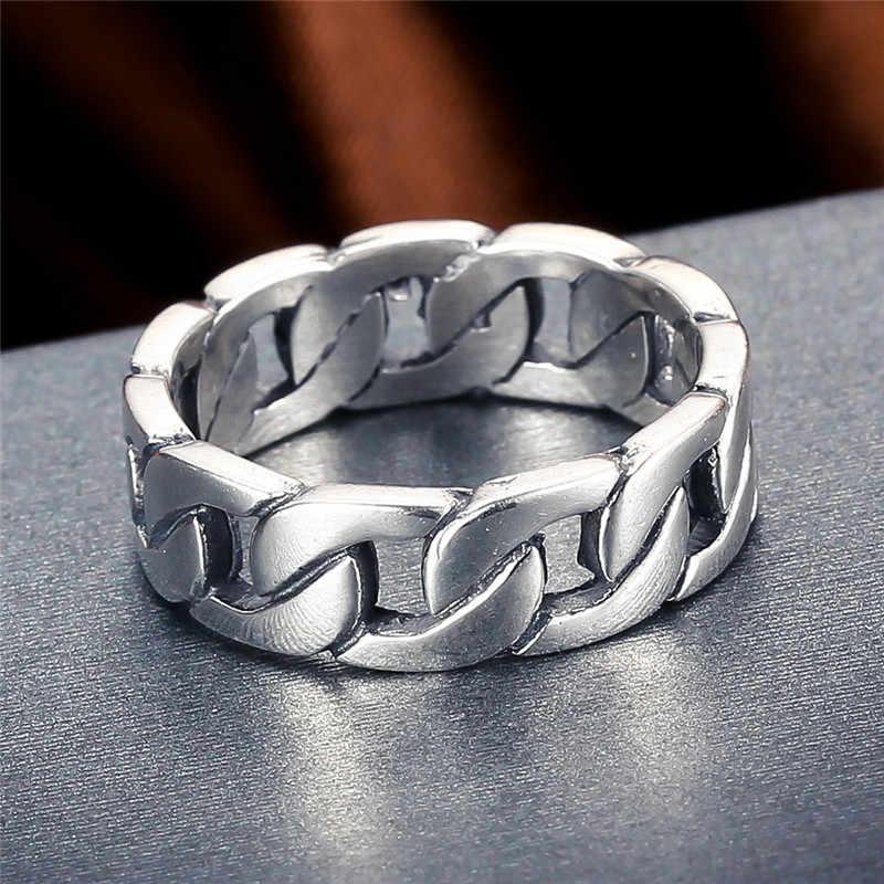 V. YA anillo 100% de plata esterlina 925 anillo Punk, cadena de ciclo, anillos de dedo para hombres, joyería fina, anillo de pareja de gran tamaño, joyería para hombres